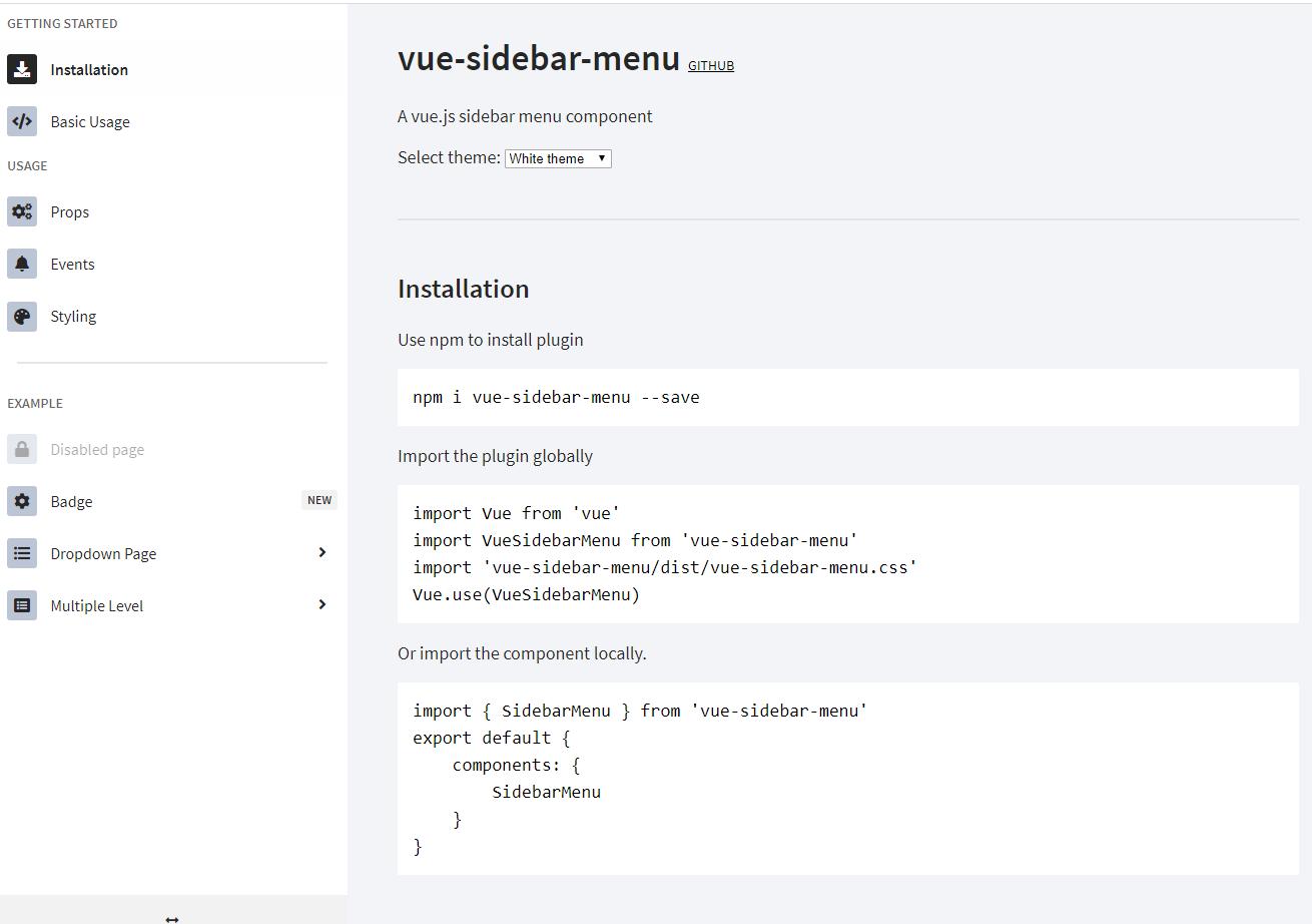 vue-sidebar-menu - vue侧边栏菜单