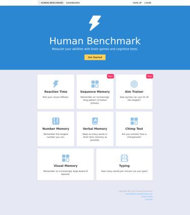 Human Benchmark - 能力测试网站,发现你的特长之处